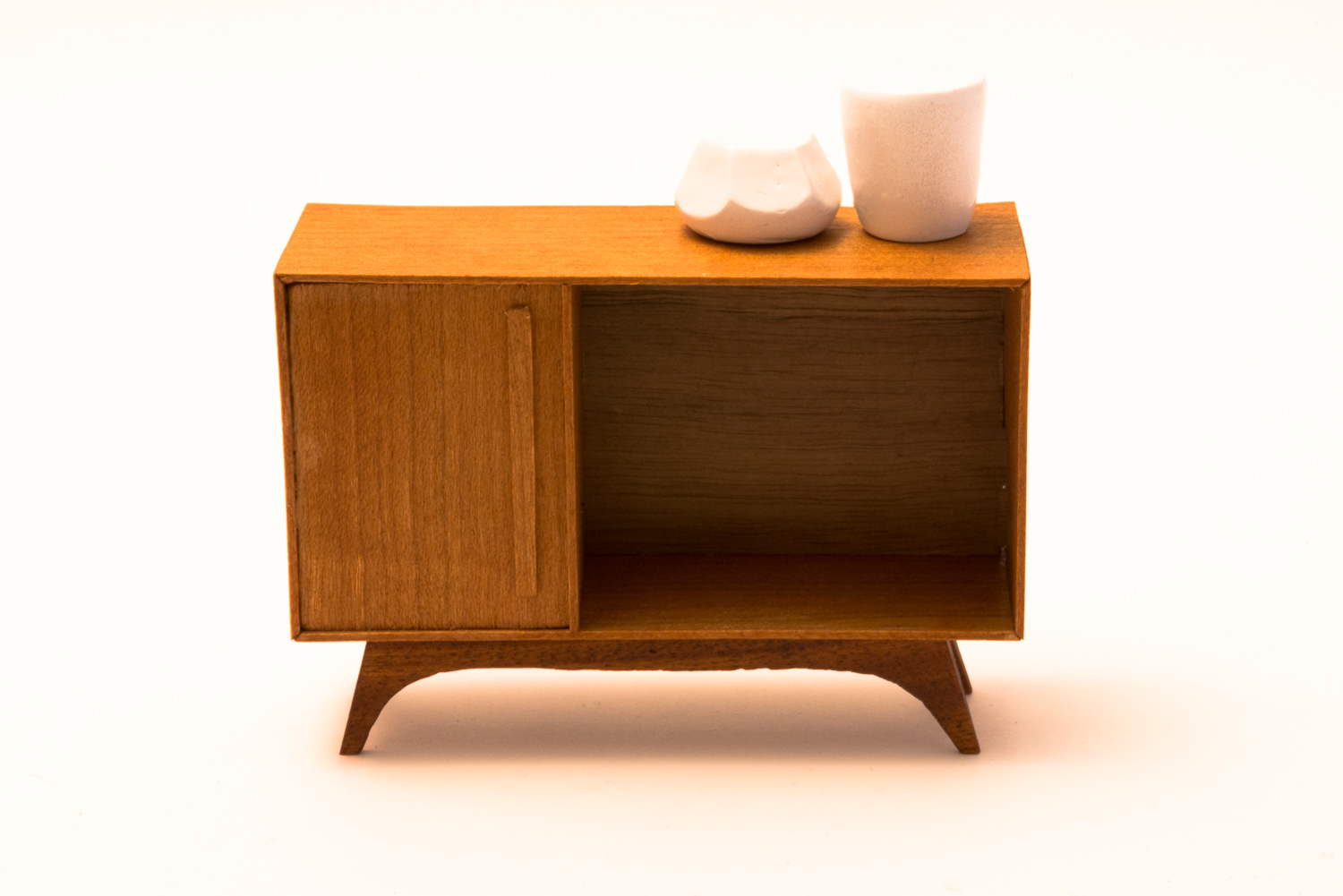Cherry Wood Mid-Century Miniature Credenza